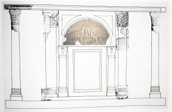 Idejna rekonstrukcija oltara s položajem lunete iz Crkve sv. Ciprijana u Gatima